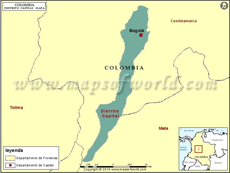 Mapa de Distrito Capital Colombia