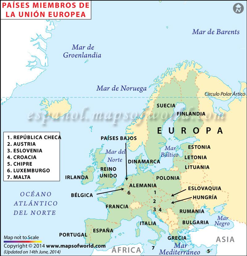 Mapa de La Union Europea  Mapa Union Europea