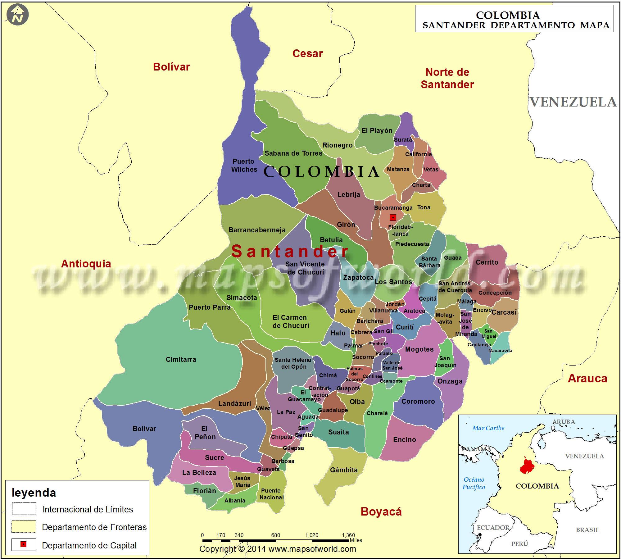Mapa de Santander Colombia