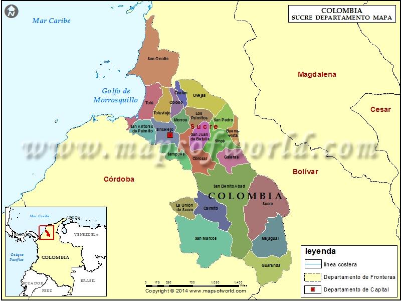 Mapa de Sucre Colombia