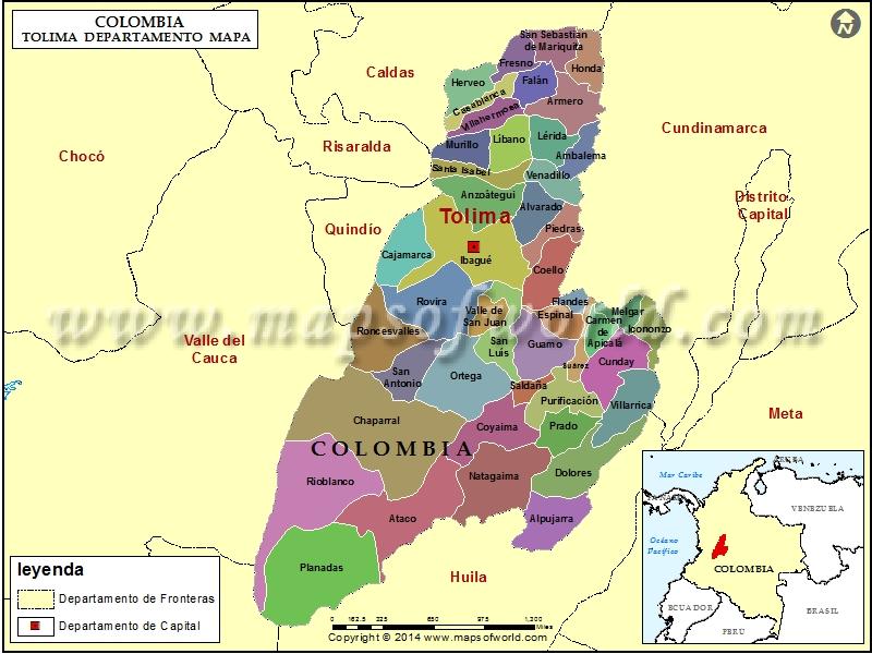 Mapa del Tolima