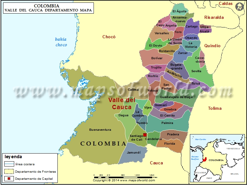 Mapa del Valle del Cauca