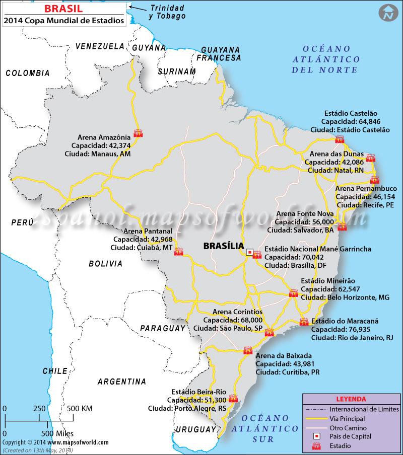Mapa Estadio de Futbol Brasil 2014