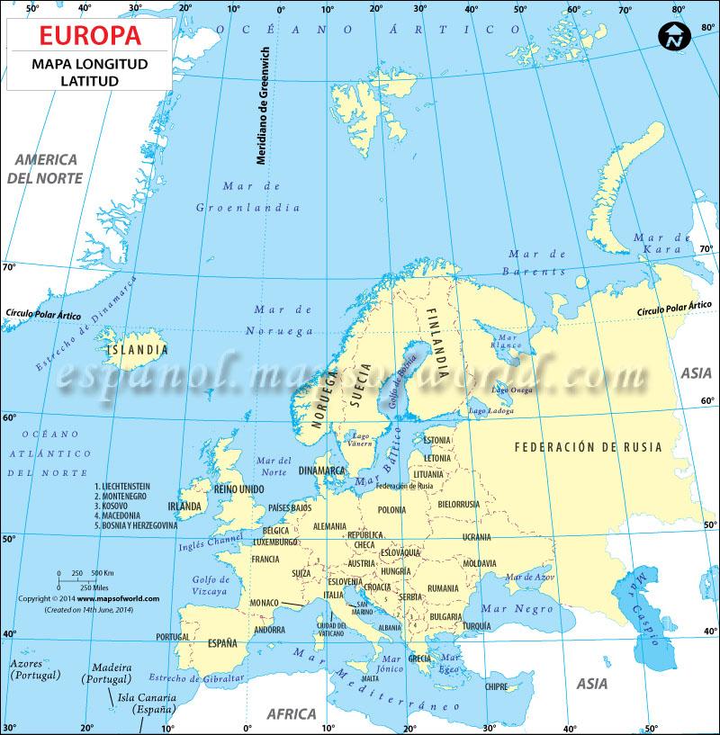 Mapa Latitud Longitud de Europa