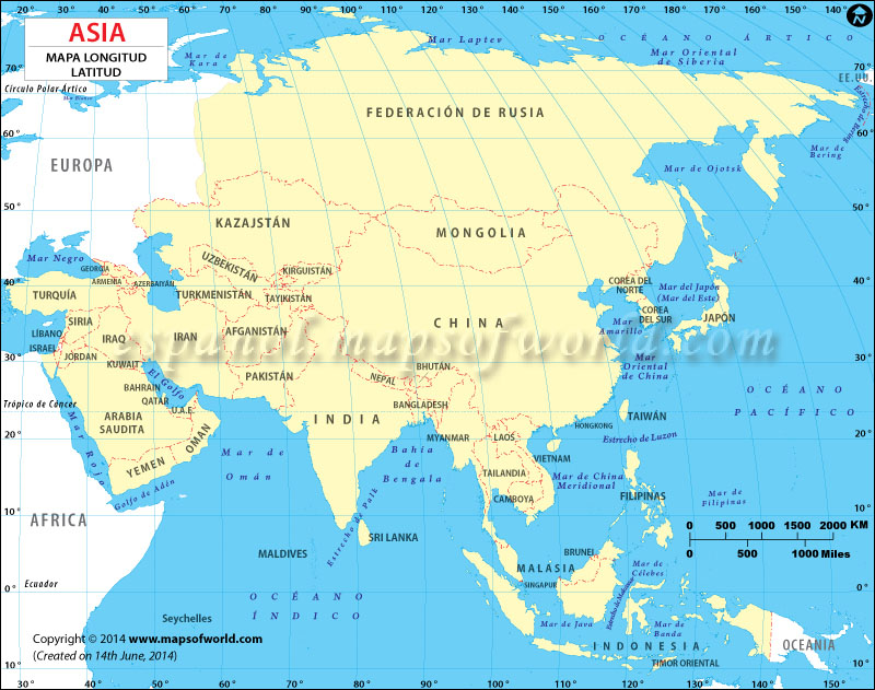Mapa Longitud y Latitud de Asia