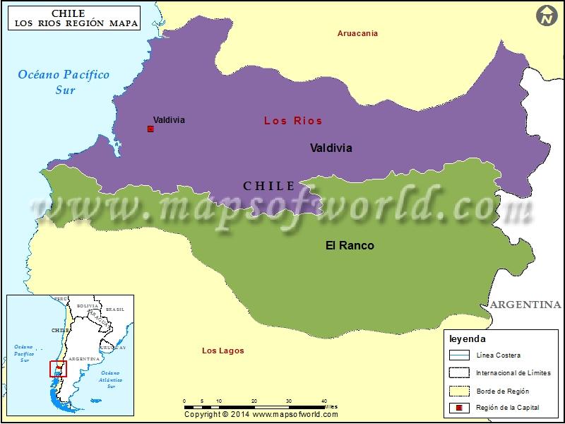 Mapa Region de Los Rios