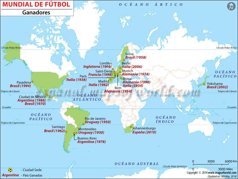 Mundial de Futbol Mapa Ganador