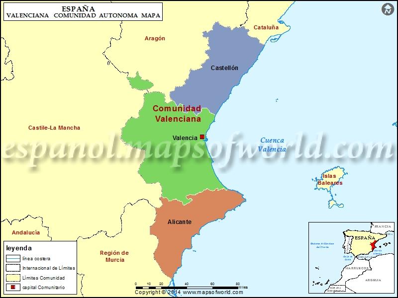 Mapa Costa Comunidad Valenciana.Mapa Comunidad Valenciana Mapa De La Comunidad Valenciana