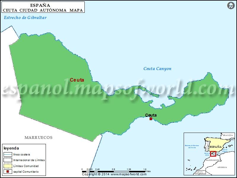 Mapa de Ceuta