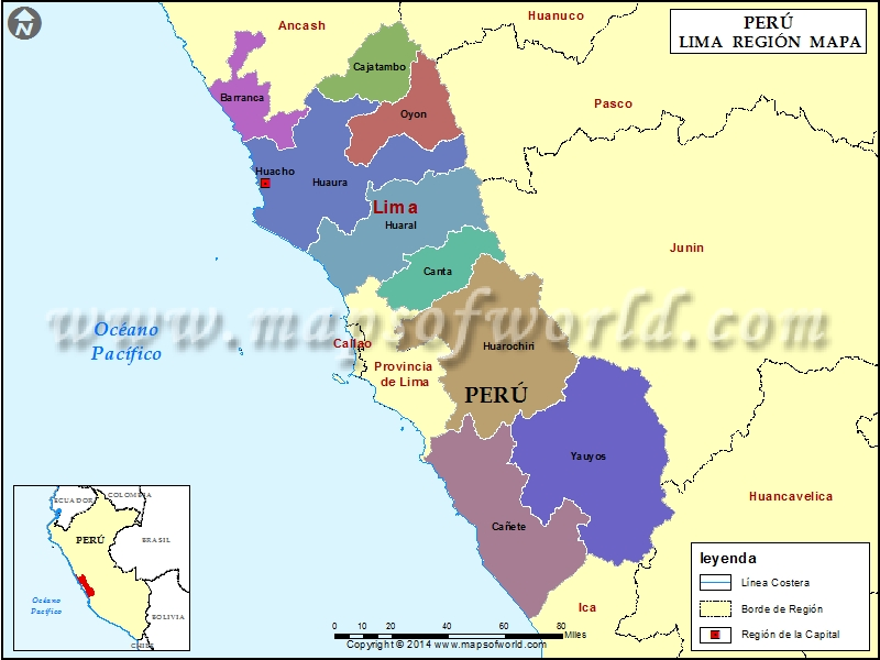 Mapa de la Region Lima  Region de Lima Peru
