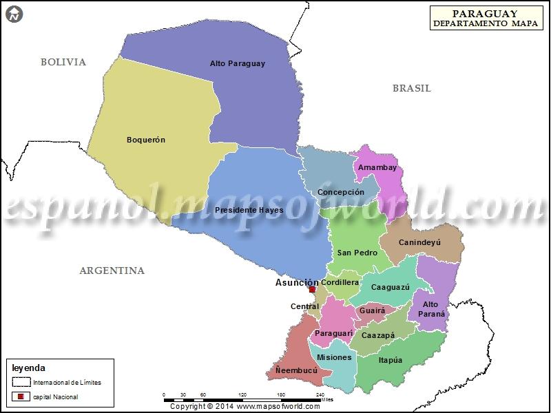 Mapa del Paraguay Departamentos