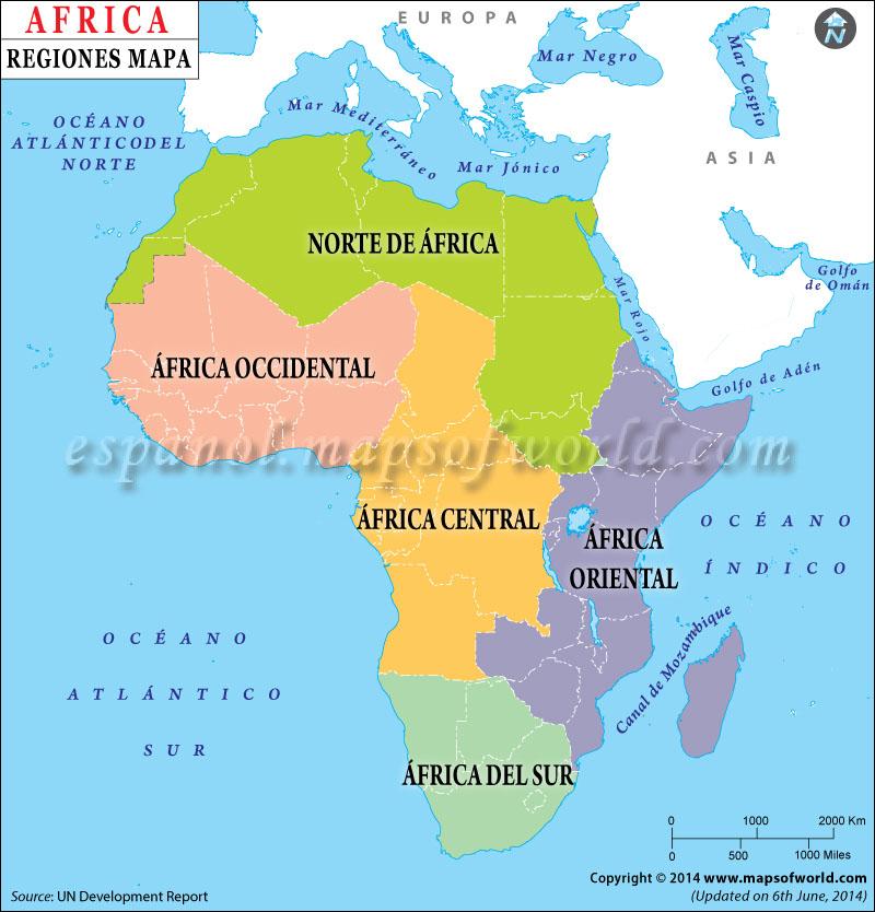 Regiones de Africa Mapa