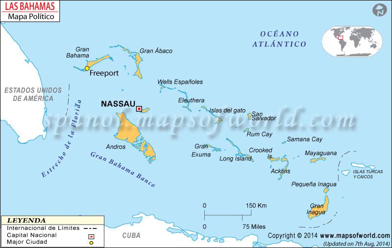 The Bahamas Mapa Político