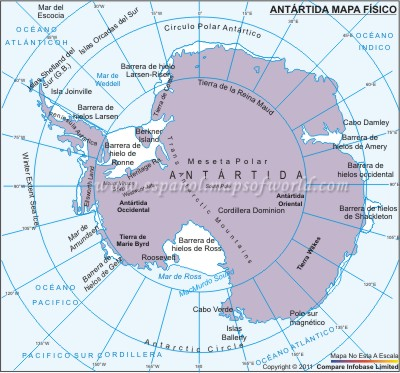 Mapa Físico de Antártida