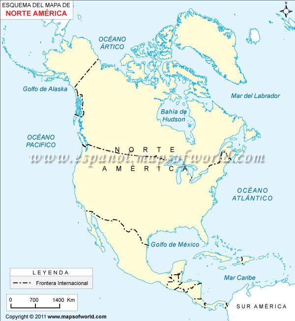Mapa en Blanco de America del Norte