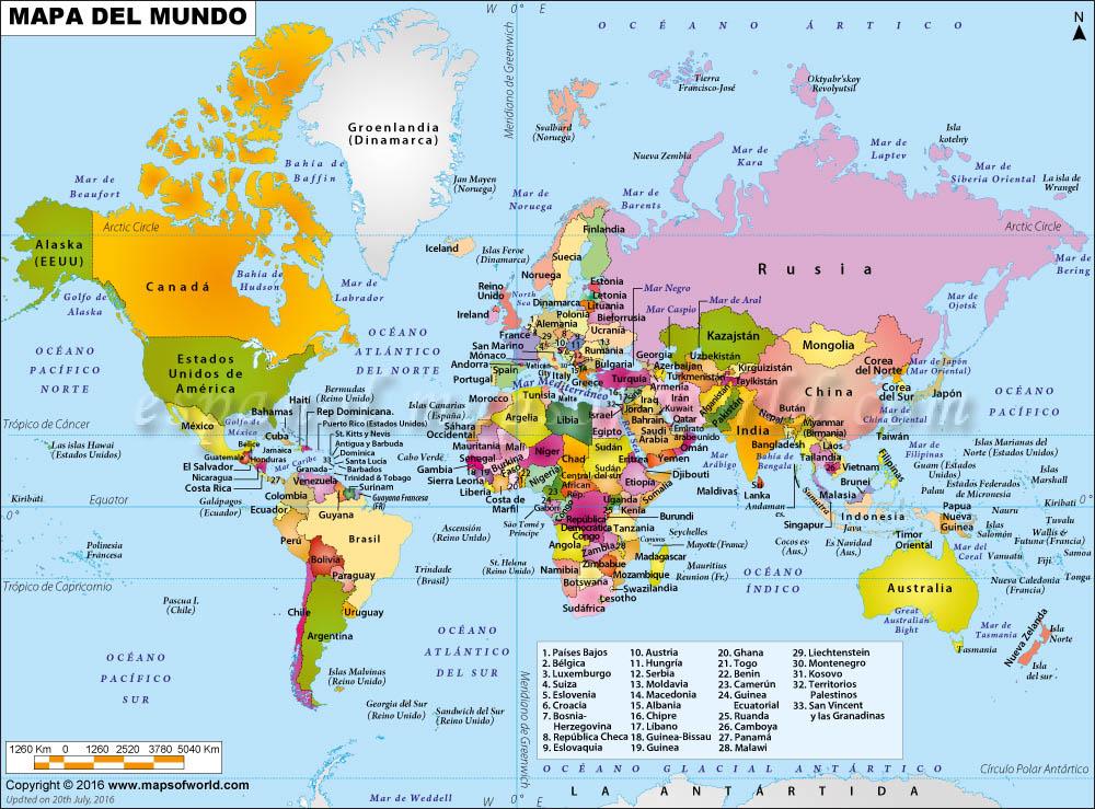 espanol.mapsofworld.com Mappa Del Mundo