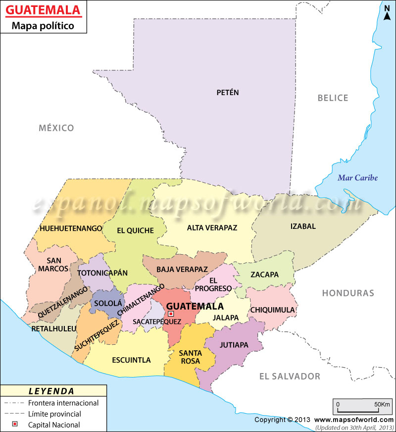 Mapa Politico de Guatemala | El Mapa de Guatemala