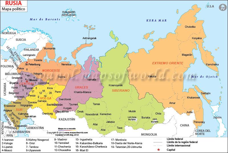 El mapa de la federación de rusia