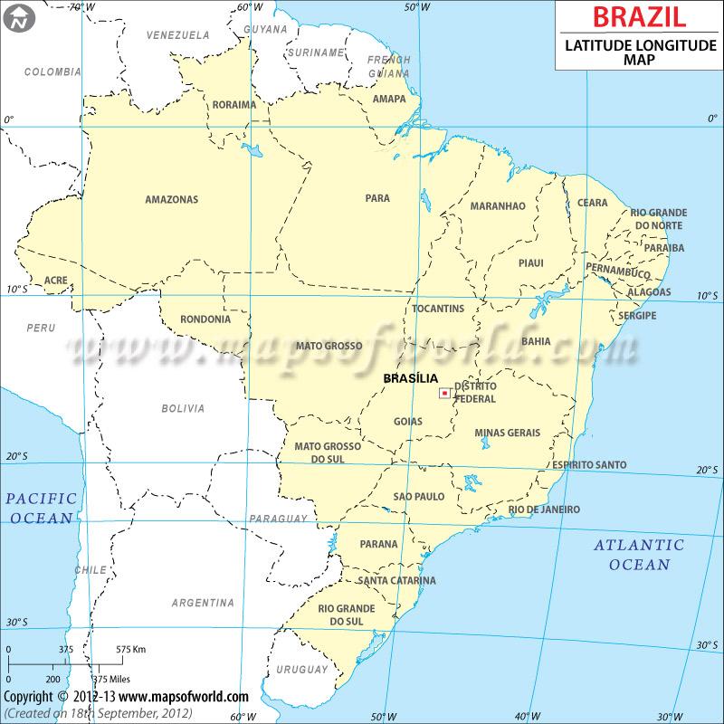 Latitud y Longitud de Brasil Mapa