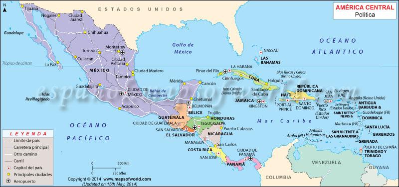 Mapa de Centroamerica | Mapa de America Central