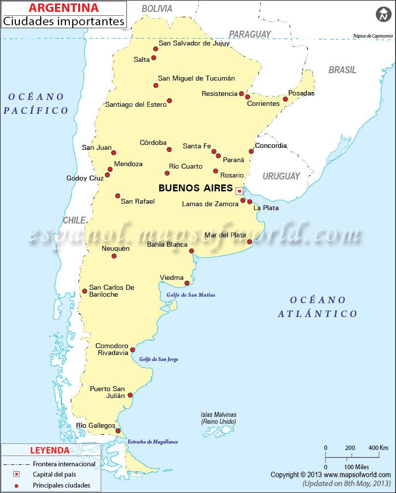 Mapa de Ciudades de Argentina