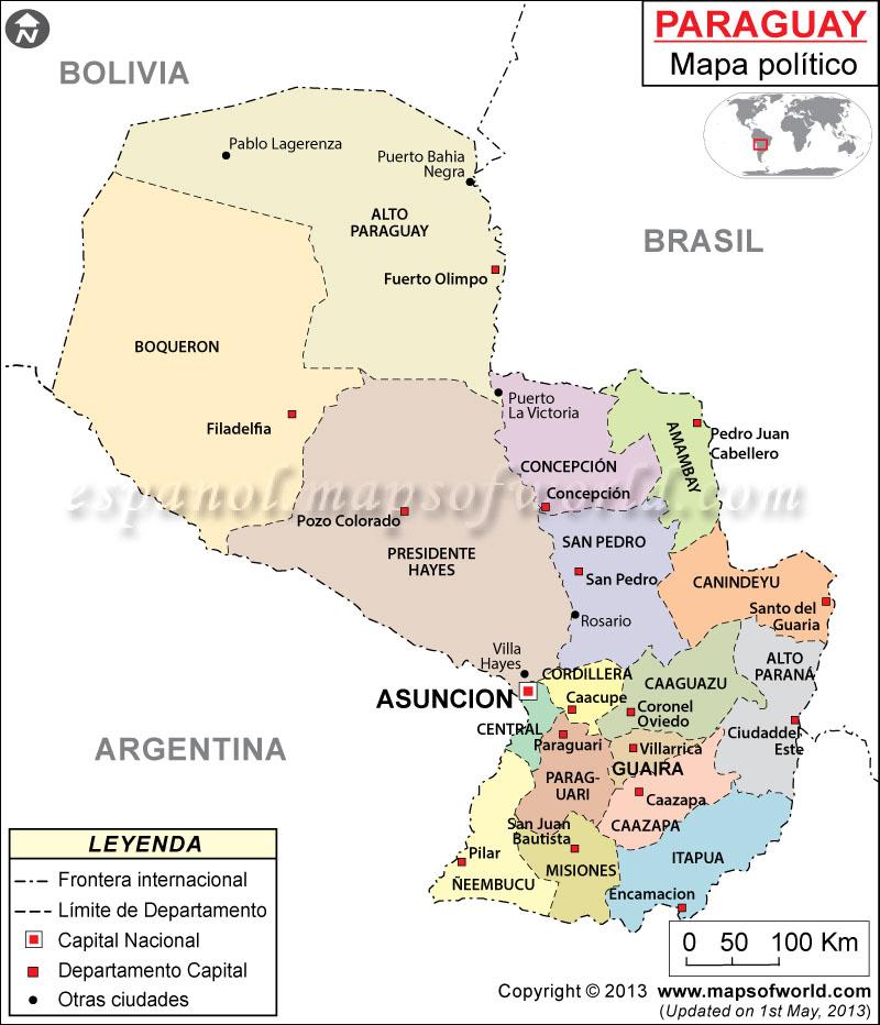 Mapa Politico de Paraguay
