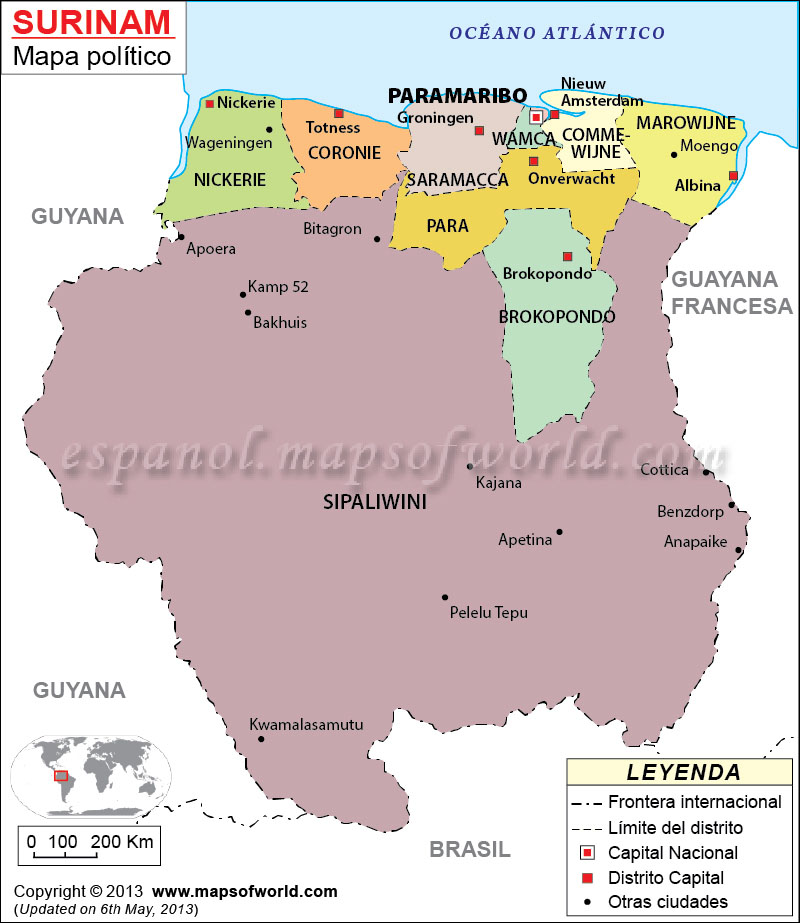 Surinam Mapa, El Mapa de Suriman