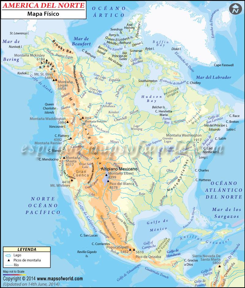 Mapa Fisico de America del Norte