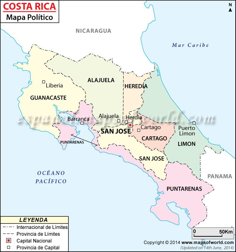 Mapa Politico de Costa Rica