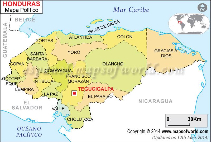 Departamentos de Honduras, Mapa de Honduras con sus Departamentos
