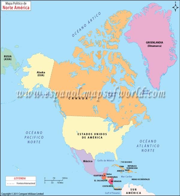 Mapa Politico de America del Norte | Mapa Norte America NORTE AMERICA MAPA