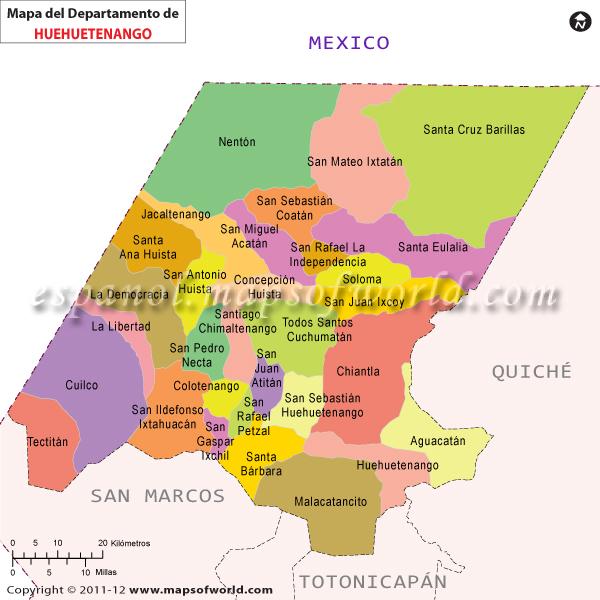 Mapa de Huehuetenango