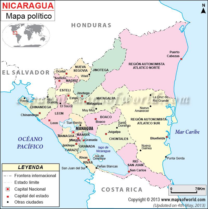 Mapa Politico de Nicaragua | Nicaragua Mapa Politico MAPA DE NICARAGUA