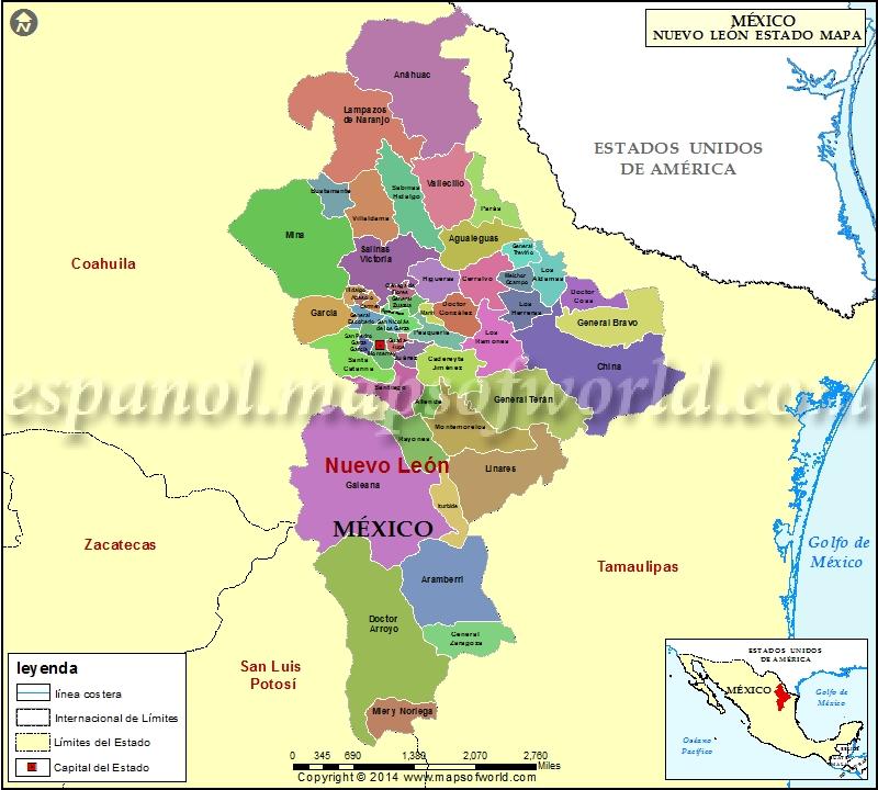 Mapa de Nuevo Leon