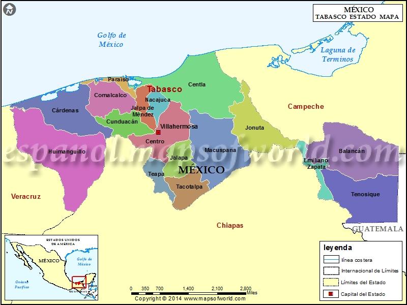 Mapa de Tabasco