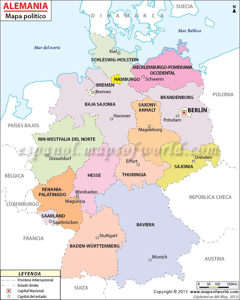 Mapa Politico de Alemania , Mapa de Alemania