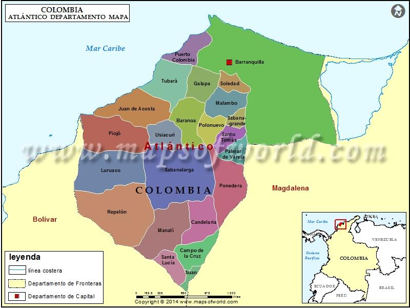 Mapa del Atlantico Colombia
