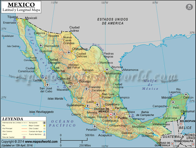 Mapa de Latitud y Longitud Mexico