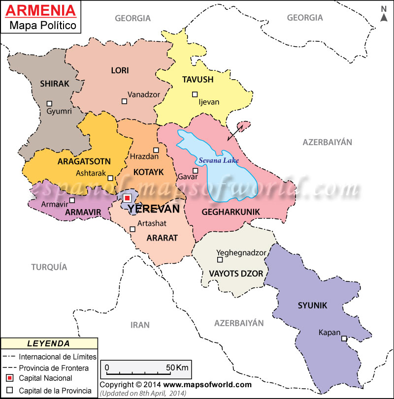 Armenia Mapa , Mapa de Armenia