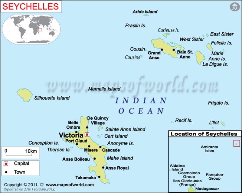 Islas Seychelles Mapa