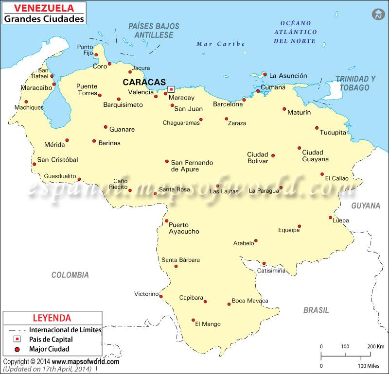 Mapa de Ciudades de Venezuela