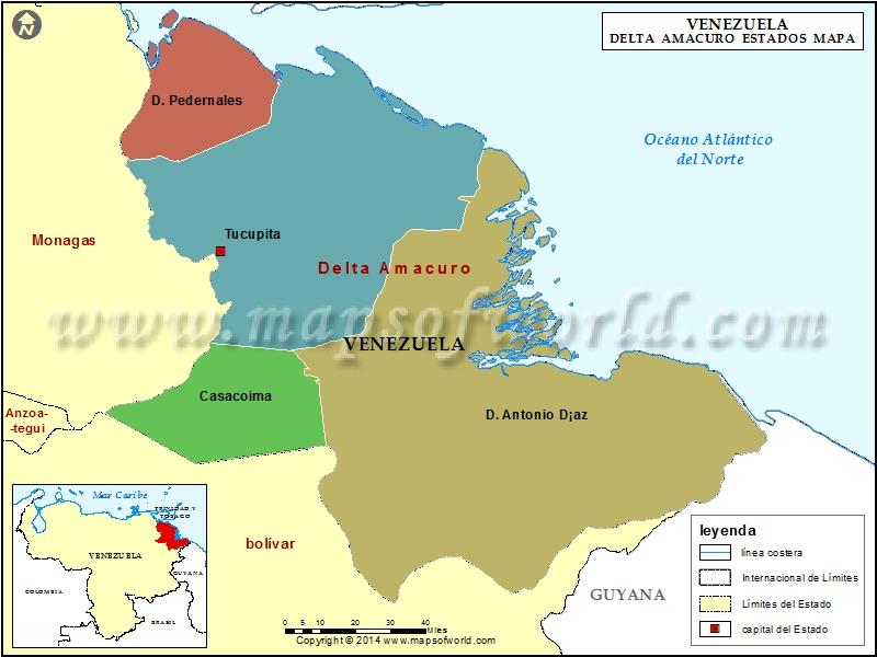 Mapa del Estado Delta Amacuro