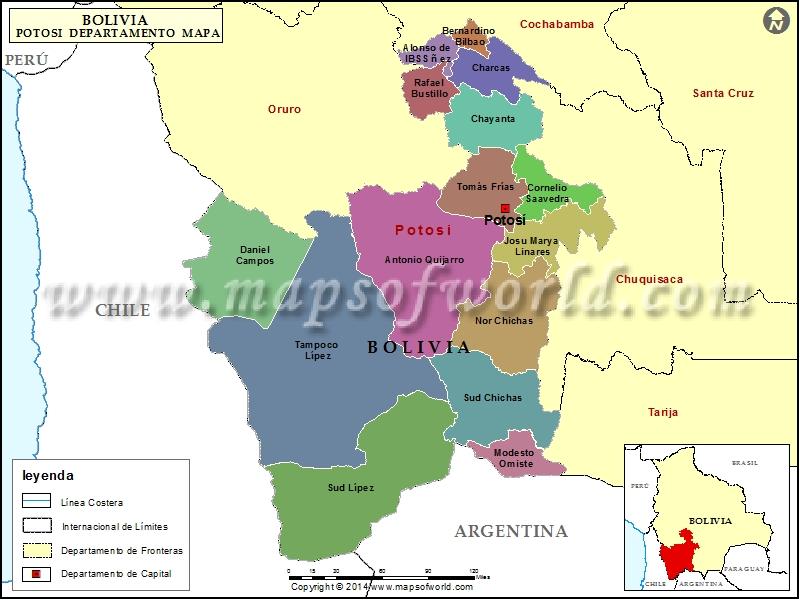 Departamento Mapa de Potosi