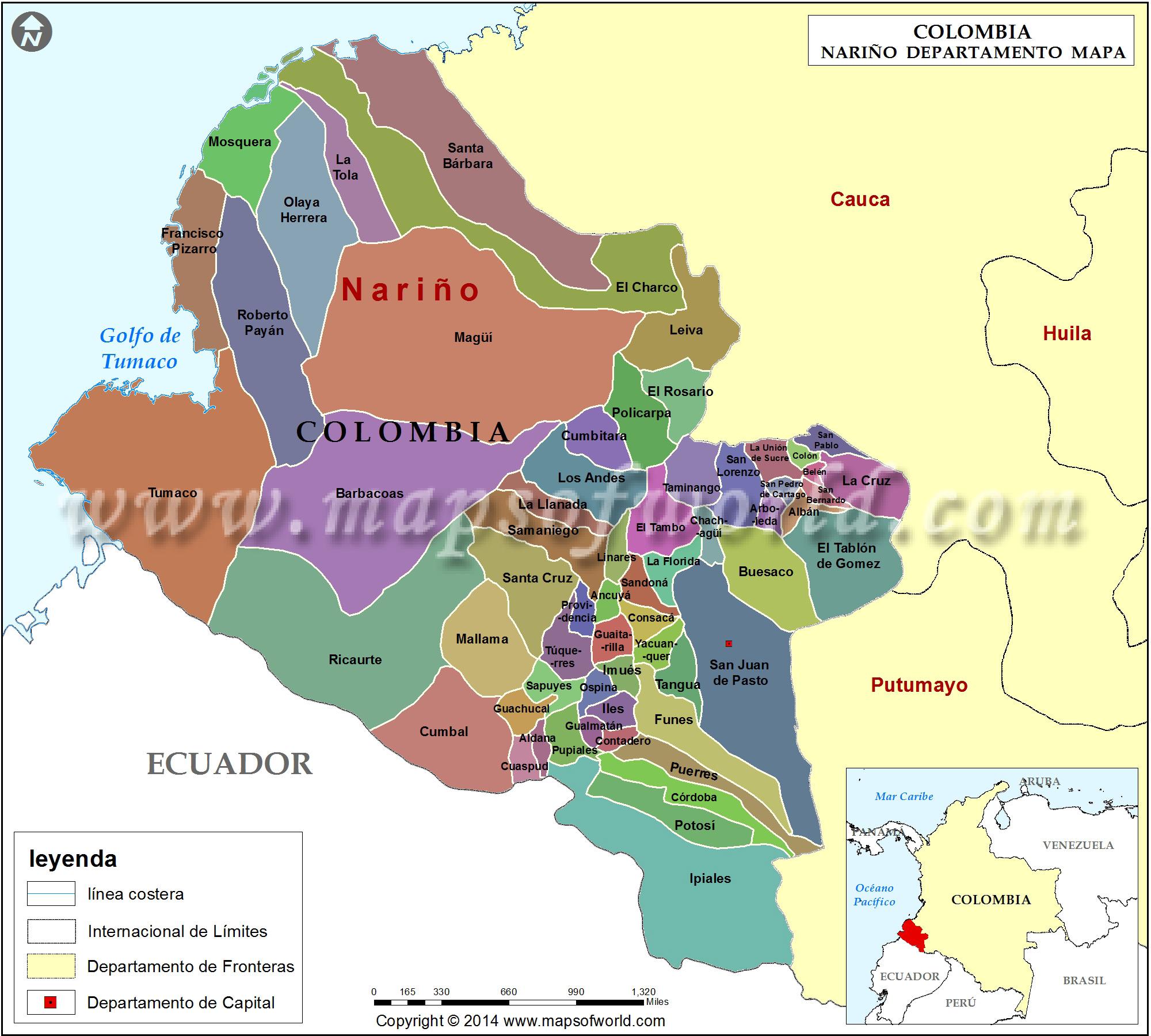 Mapa de Boyaca Colombia Mapa de Nariño Colombia