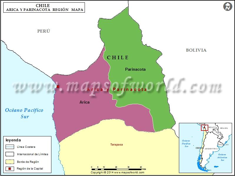 Mapa de Arica y Parinacota