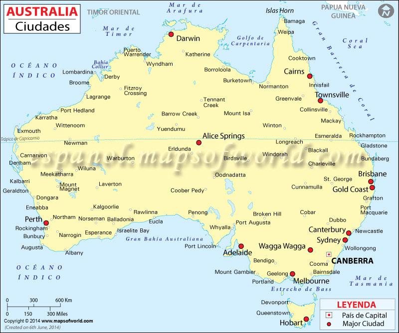 Mapa de Australia con Ciudades